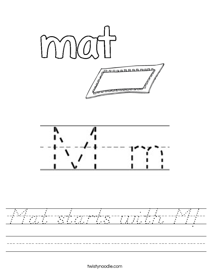 Mat starts with M! Worksheet