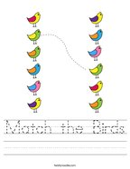 Match the Birds Handwriting Sheet