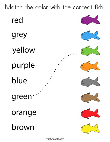 Match the color with the correct fish. Coloring Page