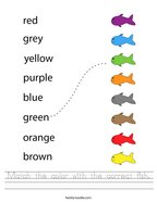Match the color with the correct fish Handwriting Sheet