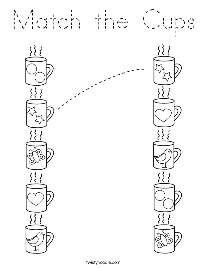 Match the Cups Coloring Page