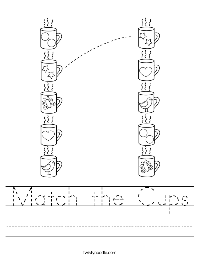 Match the Cups Worksheet