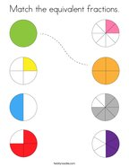 Match the equivalent fractions Coloring Page