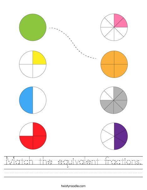 Match the equivalent fractions. Worksheet