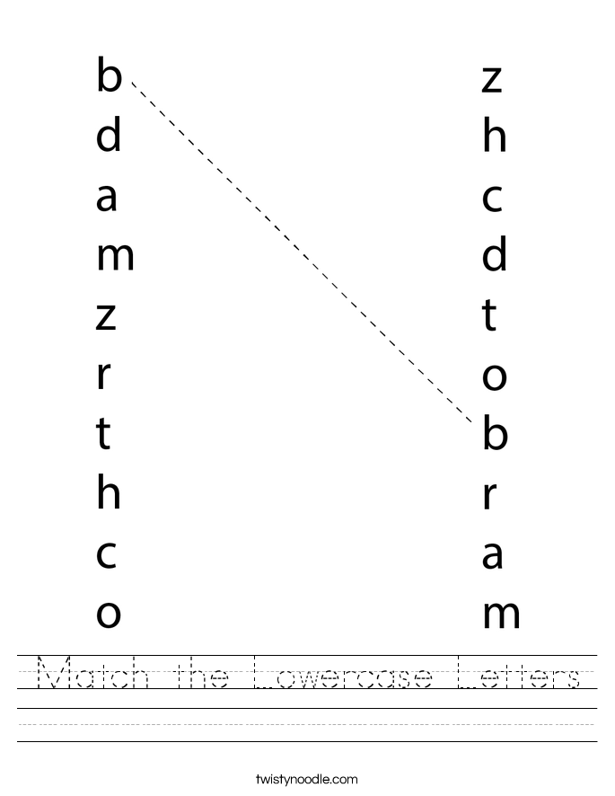 Match the Lowercase Letters Worksheet
