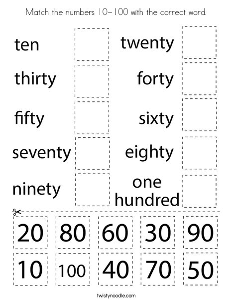 Match The Numbers 10-100 With The Correct Word Coloring Page - Twisty Noodle