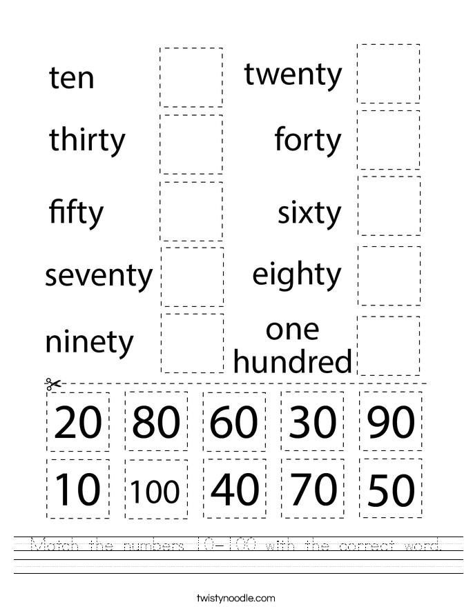 Match the numbers 10-100 with the correct word. Worksheet