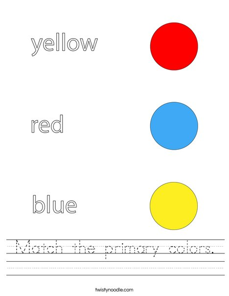Match The Primary Colors Worksheet - Twisty Noodle