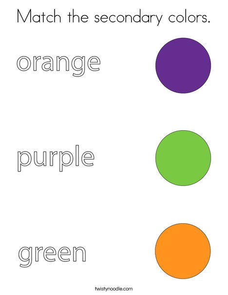 Match the secondary colors. Coloring Page