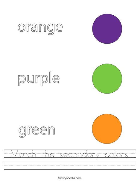 Match the secondary colors. Worksheet