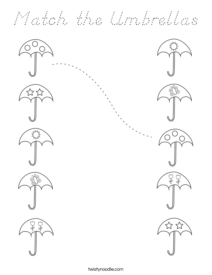 Match the Umbrellas Coloring Page