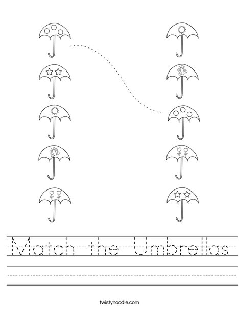 Match the Umbrellas Worksheet