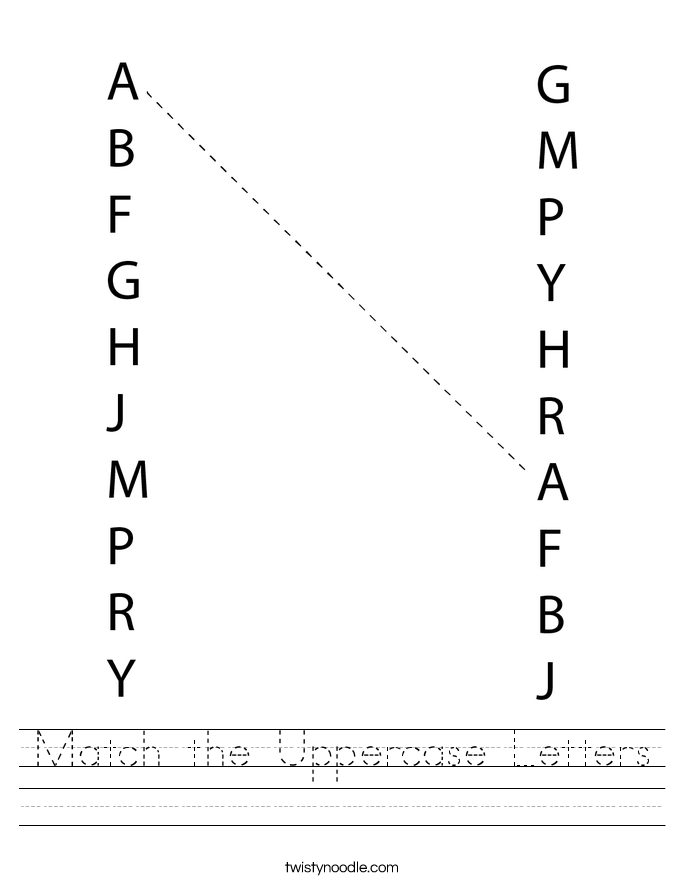 Match the Uppercase Letters Worksheet