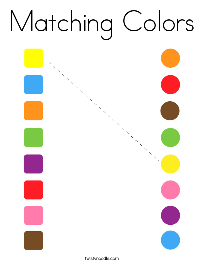Matching Colors Coloring Page