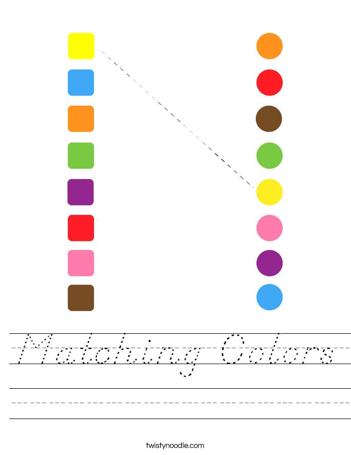 Matching Colors Worksheet