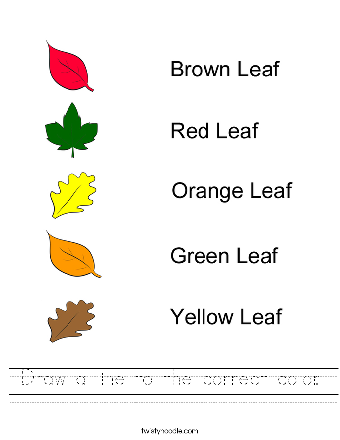 Draw a line to the correct color. Worksheet