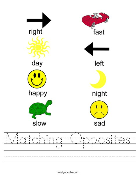 Matching Opposites Worksheet