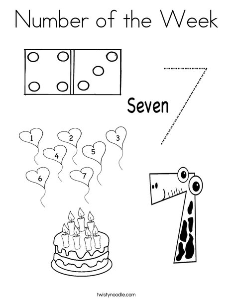 Math Centers Number 7 Coloring Page
