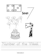 Number of the Week Handwriting Sheet