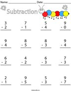 1 Digit Subtraction Math Worksheet