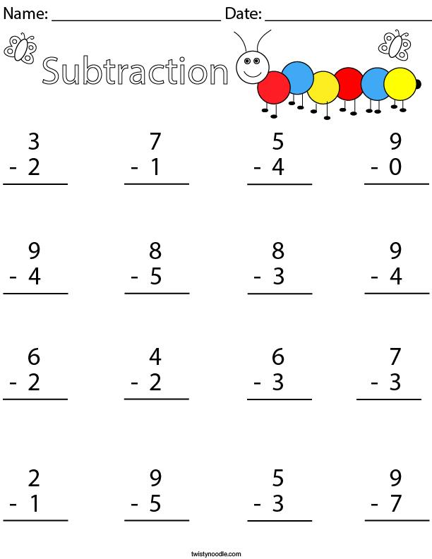 1 Digit Subtraction Math Worksheet