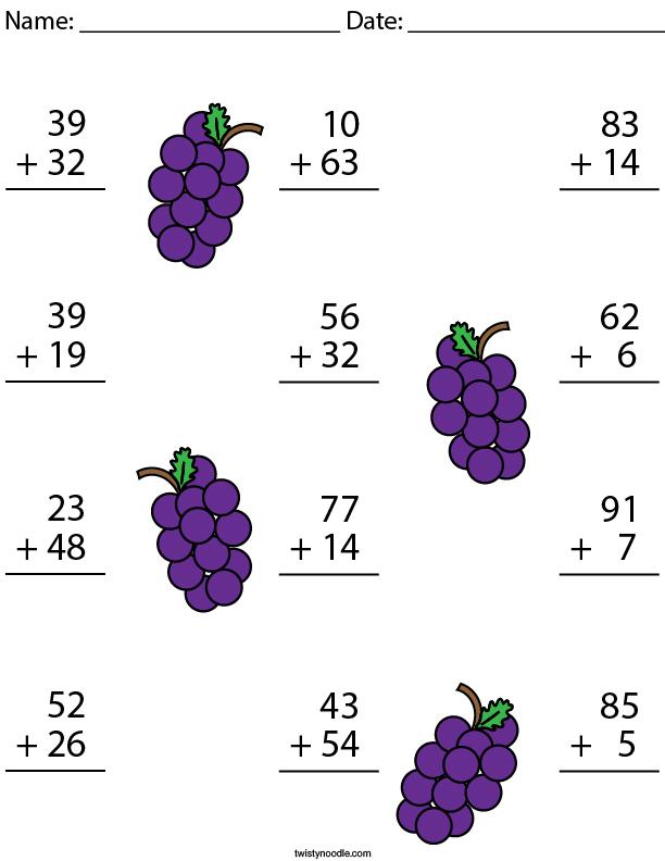 2 Digit Addition Challenge Math Worksheet