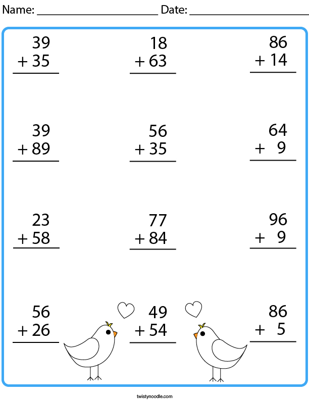 2 Digit Addition with Carrying Math Worksheet