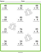 2 Digit Addition with Regrouping Math Worksheet