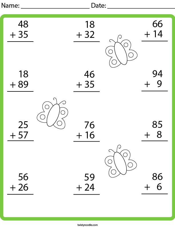 2 Digit Addition With Regrouping Math Worksheet - Twisty Noodle