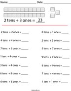 2 Digit Place Value Math Worksheet