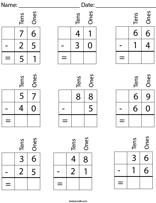 2 Digit Subtraction with Place Value Math Worksheet
