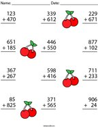 3 Digit Addition Challenge Math Worksheet