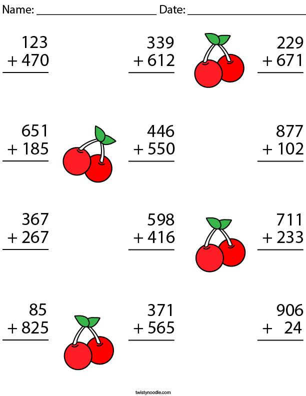 3 Digit Addition Challenge Math Worksheet