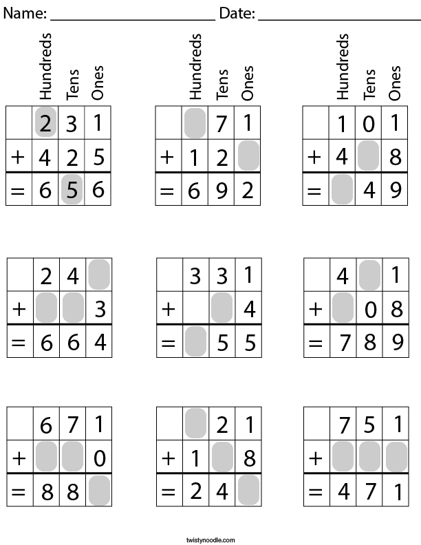 3 Digit Addition- Fill in the Missing Numbers Math Worksheet