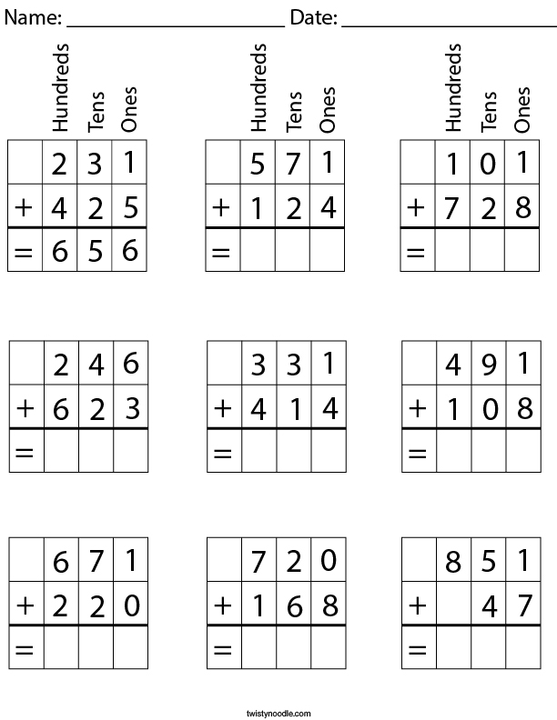 3 Digit Addition with Place Value Math Worksheet