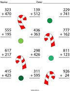 3 Digit Candy Cane Addition Math Worksheet