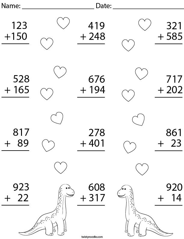 3 Digit Dino Addition Math Worksheet