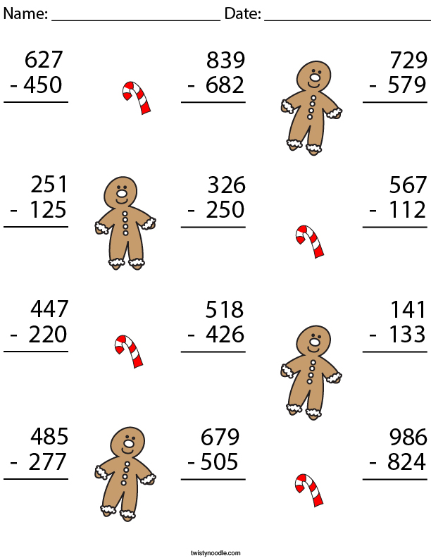 3 Digit Gingerbread Man Subtraction Math Worksheet