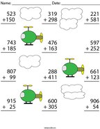 3 Digit Helicopter Addition Math Worksheet