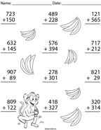 3 Digit Monkey Addition Math Worksheet