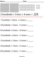 3 Digit Place Value Math Worksheet