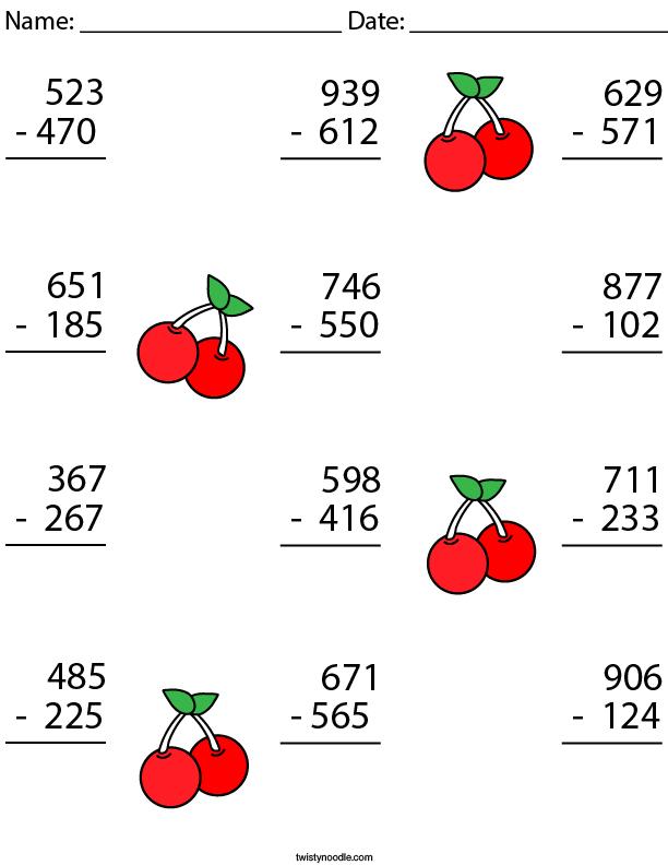 3 Digit Subtraction Challenge Math Worksheet