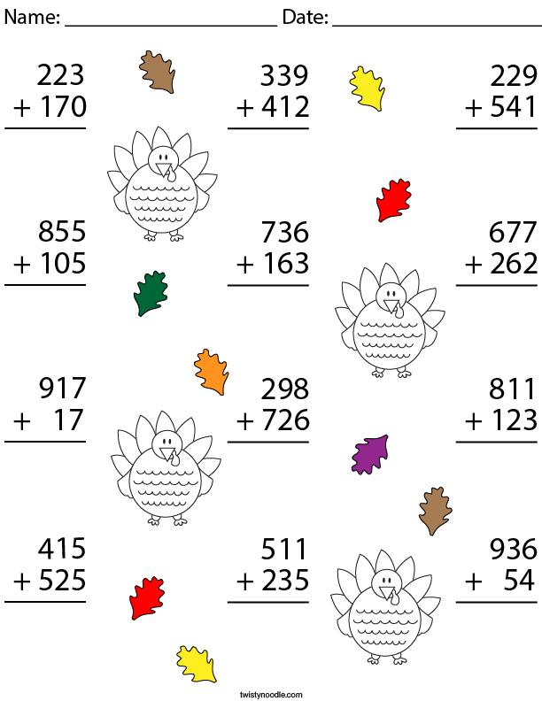 3 Digit Turkey Addition Math Worksheet