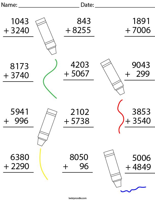 4 Digit Addition Math Worksheet