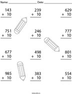 Add 10 to each 3 Digit Number Math Worksheet