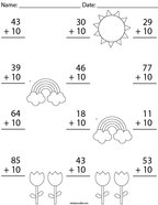 Add 10 to each Number Math Worksheet