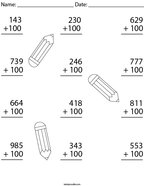 Add 100 to each 3 digit number Math Worksheet