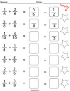 Add and Simplify the Like Fractions Math Worksheet
