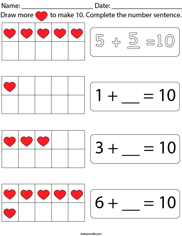 Add More Hearts to Make 10 Math Worksheet