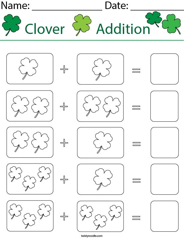 Add the Clovers Math Worksheet